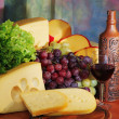 Cheese, grape and wine. — Stock Photo