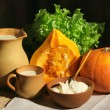 Foto Stock: Pumpkin, sour cream and milk