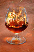 Snifter glass of cognac — Stock Photo