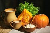 Pumpa, creme fraiche och mjölk — Stockfoto