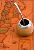 Yerba mate on map — Stock Photo