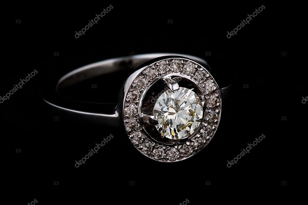 Ring with diamonds on black background — Stock Photo #2397668