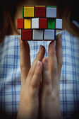 Multi coloured cube a puzzle — ストック写真