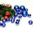 Lots of blue Christmas balls — Stock Photo