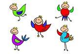 Happy vector cartoon colored birds — Stock Vector