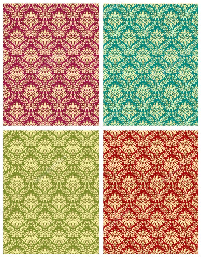Damask floral design pattern elements vector shape — Stock Vector #2235442