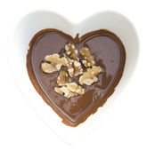 I heart chocolate and walnuts — Stock Photo