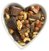 I heart chocolate, fruit and nuts — Stock Photo