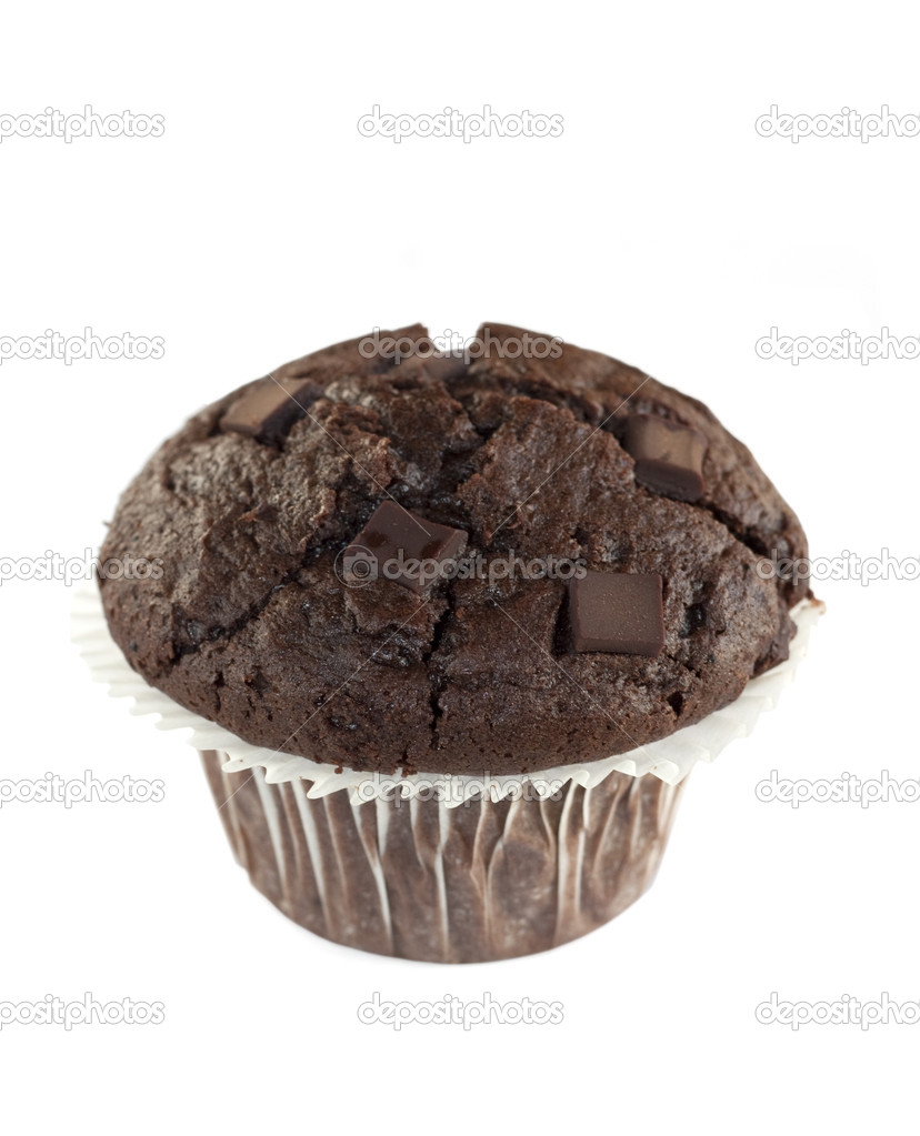 A double chocolate muffin isolated on a white background — Stock Photo #1949701