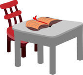Table with nobody but a book — Stock Photo