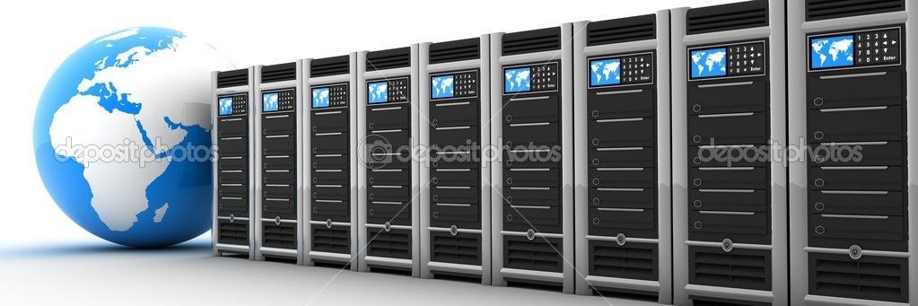 Server row and earth (done in 3d)  Stock Photo #1914549