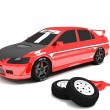 Tuning car ,red - Stock Photo