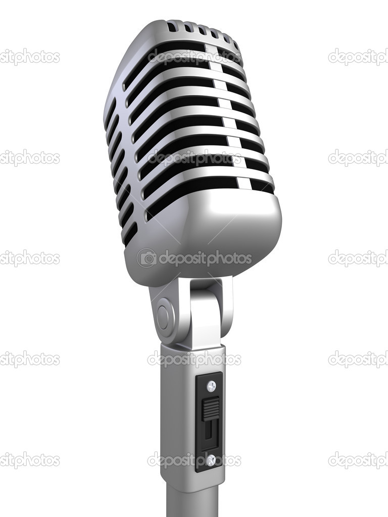 Retro microphone on a white background (isolated) — Foto Stock #1966449