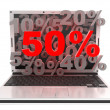 Laptop 50% — Stock Photo