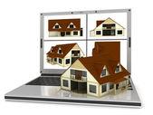 Domov a laptop — Stock fotografie