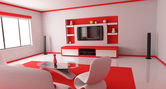 Red room (back) — Stock Photo