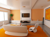 Orange room (front) — Stock Photo