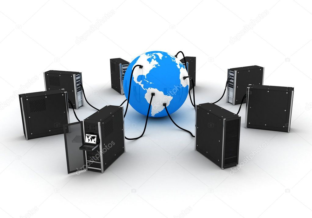 Abstract presentation of the internet on earth   — Stock Photo #2465227