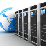 Server row and earth — Stock Photo