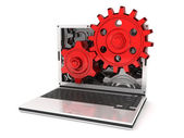 Laptop gears — Stock Photo