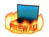 Laptop firewall — Stock Photo