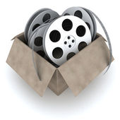 Box and films — Stock Photo