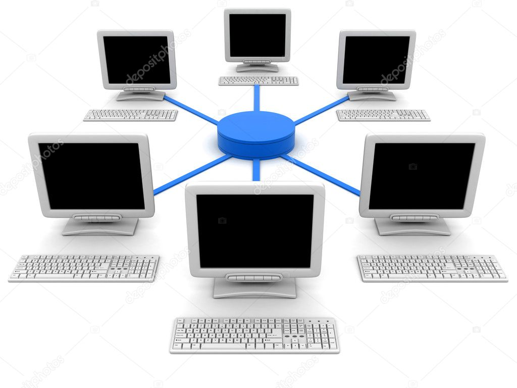Network six computers (done in 3d, isolated)  — Stock Photo #2548137