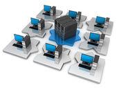 Puzzle Network computer — Stock Photo