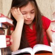 Stock Photo: Girl study homework - bored