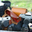 35mm old cameras heap — Stock Photo