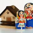 Royalty-Free Stock Photo: Russian nested dolls and house
