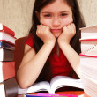 Girl studies homework — Stock Photo