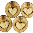 Walnuts - as hearts - Stock Photo