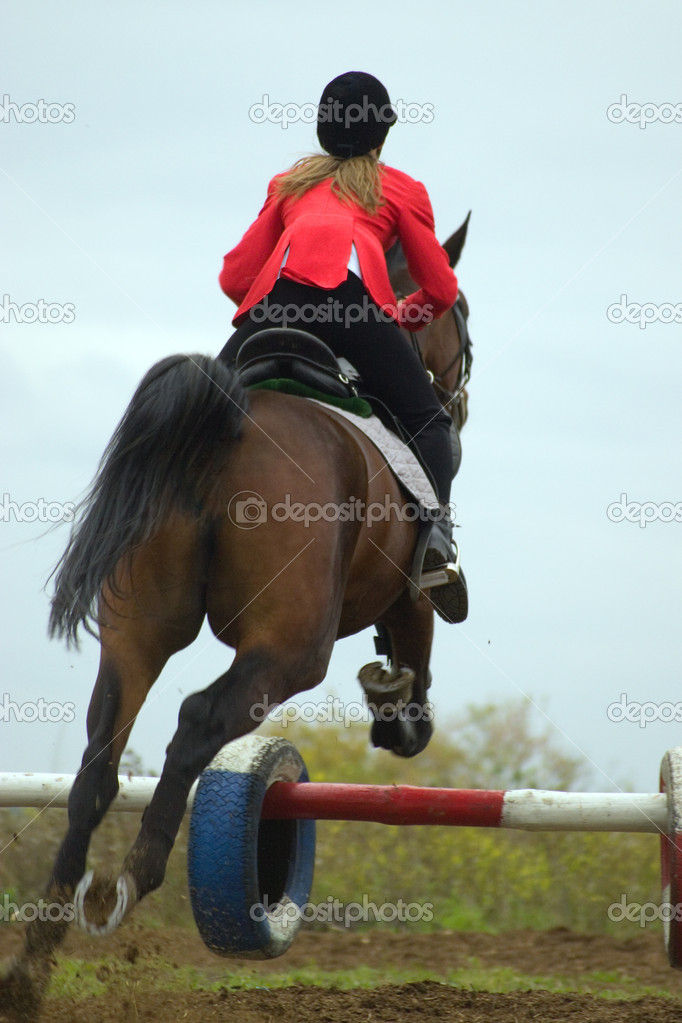 The equestrian and horse. A jump through an obstacle.  — Stockfoto #1985448