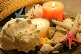 Candles and sea shells — Stock Photo