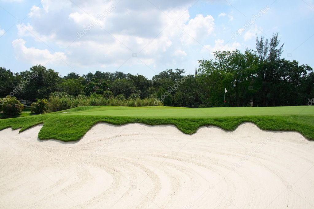 Golf course greens and sand trap  Stock Photo #2049026