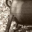 Stock Photo: Antique iron cooking pot