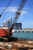 Floating construction site on the bay — Stock Photo