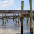 Stock Photo: Wooden piers on sea