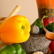 Mortars, peppers an garlic — Stock Photo