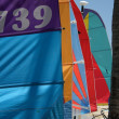 Stock Photo: Color sails on beach