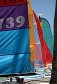 Color sails on the beach — Stock Photo