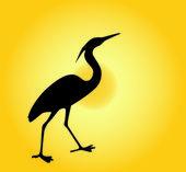 Heron against a decline — Stock Vector