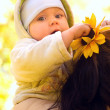 The baby in autumn park — Stock Photo