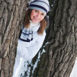 Beautiful young woman in winter forest — Foto de Stock