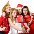 Girls in red with the presents. — Stock Photo #2132693