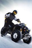 Rider costs near to ATV. Winter season — Stock Photo