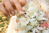 Bride's bouquet with the ladybird — Stock Photo