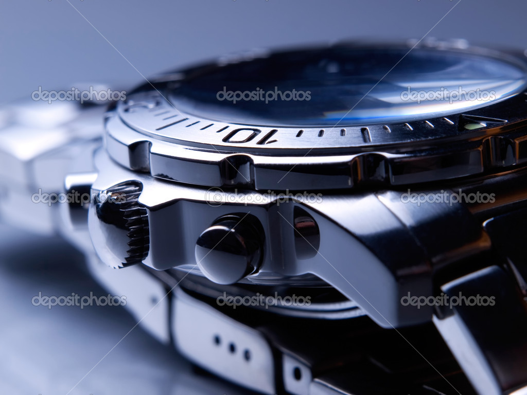 Closeup of steel wrist watch.  Stock Photo #2174889