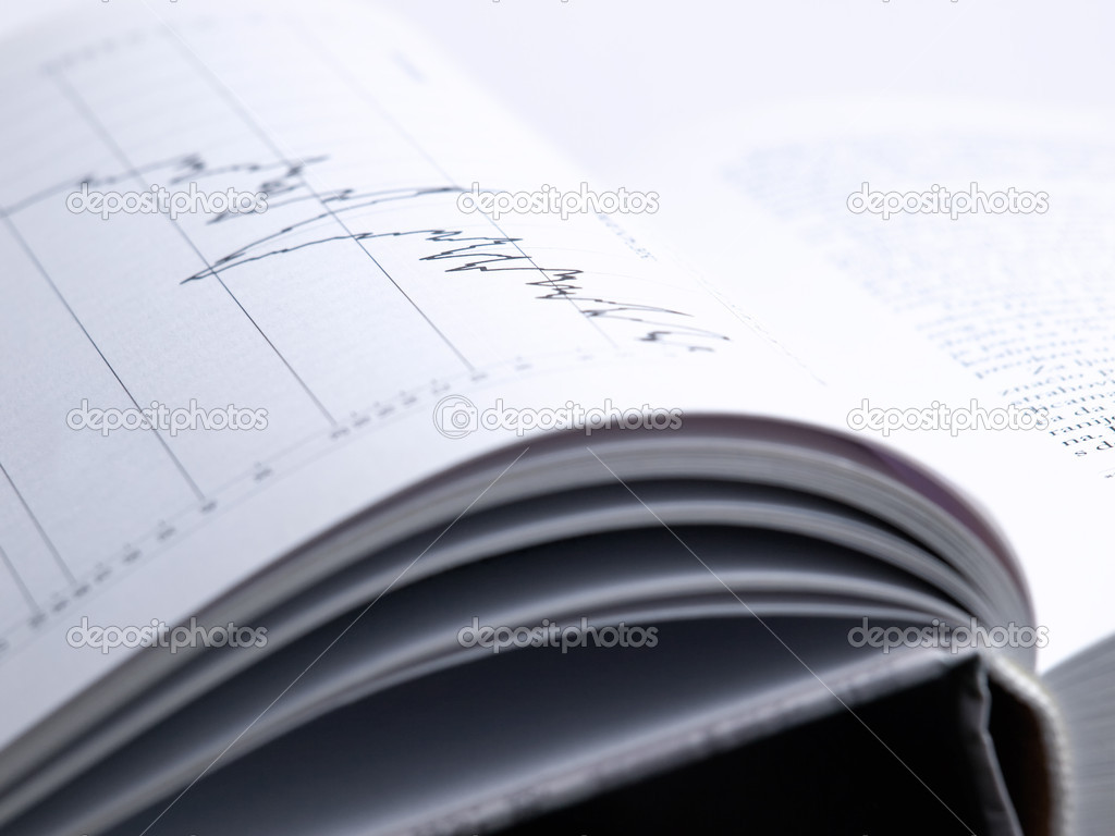 Closeup of the  investment analysis  book with a graph. — Stock Photo #2532635